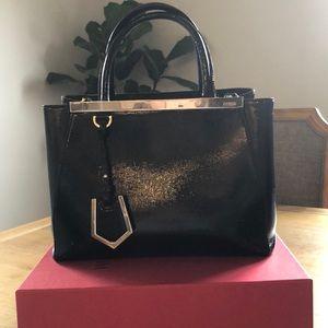 Authentic Fendi 2jours black leather Handbag